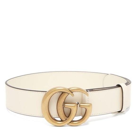 44086122b Gucci Accessories | White Marmont Gg Leather 75 30 Belt | Poshmark